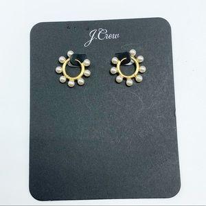 J. Crew Mini Beaded Pearl Hoop Earrings